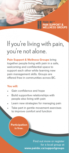 Pain Support and Wellness Groups: Rack Card